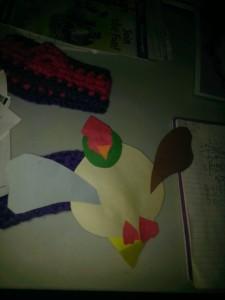 valentine bird made from hearts